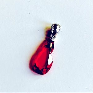 Ruby red glass pendant